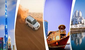 Dubai City Tour + Desert Safari + Dhow Cruise Dinner + Abu Dhabi City Tour