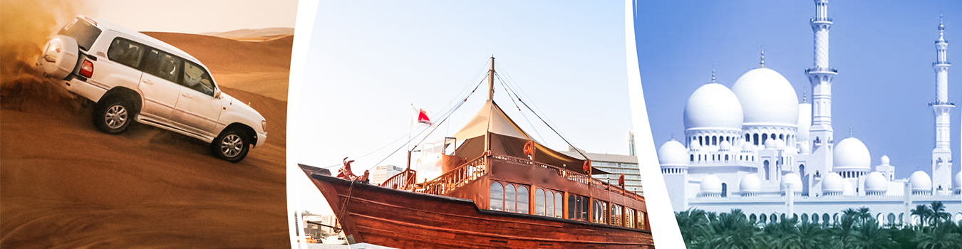 Abu Dhabi City Tour + Desert Safari + Dhow Cruise Dinner